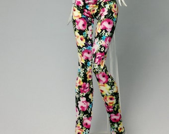 Tight pants/leggings/clothes for Monster high doll- Black/pink flower No: 609