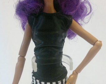 Dolls tops clothes for Monster high doll- Black imitation No.797