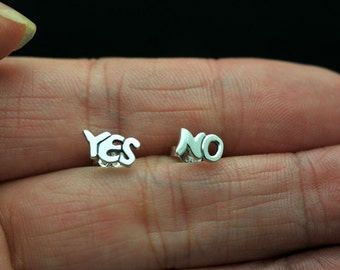 Tiny Sterling Silver Yes & No Stud Earrings. Tiny Yes No Studs.