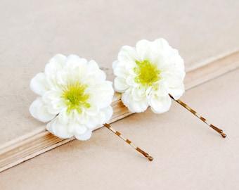 Set of White Flower Bobby Pins,Floral Hair Accsessories,White flower,Wedding hair accessories