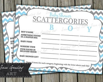 baby shower scattergories instant download blue and grey chevron