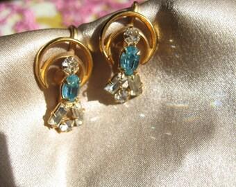 turquoise blue and clear rhinestone earrings