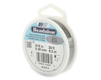 Beadalon 49 Strand Beading Wire, .015 30ft & 100ft Spools, 49 Strands, Beadalon, Bead Stringing Wire