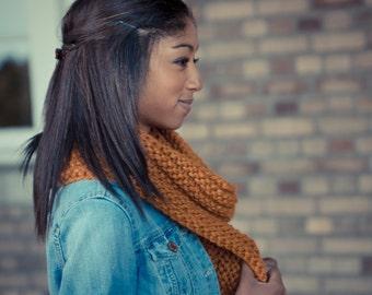 Butterscotch Knitted Infinity Scarf - Yellow - Gold - Loop - Cowl - Neckwarmer - Women - Teen Girls