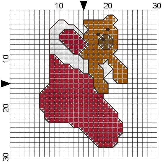 Cross Stitch Pattern Teddy Bear in Stocking Christmas Magnet Instant ...