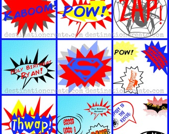 Super Hero Party word balloons, Set 1...Printable PDF. A must- have for your upcoming Super Hero Themed party.
