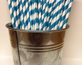 25 Bright Blue Striped Paper Straws for Parties, Gender Reveal, Wedding, Baby Showers, Birthdays, Bar Mitzvah, Bat Mitzvah, Ice Cream Social