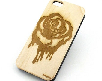 W126 Wood Case for Apple Iphone 5C - Dripping Rose