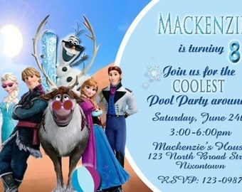 20 Frozen Summer Fun Pool Party Water Fun Birthday Party Invitations Personalized (encludes envelopes)