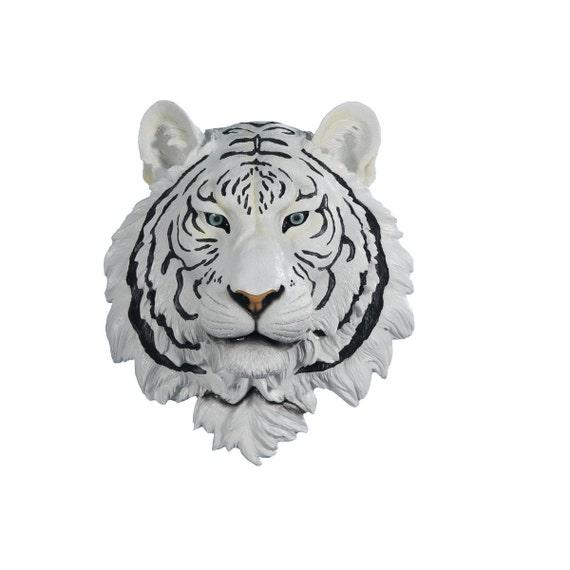 Animal Head Wall Decor White : Items similar to white tiger head with black stripes