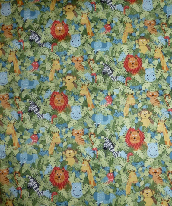 Cotton Fabric Quilt Craft Jungle Animals Makower Uk 1 2
