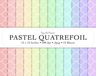 """Digital Paper """"Pastel Quatrefoil"""" • Instant Download • Scrapbooking Supply • High Quality • Commercial Use"""