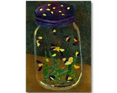 Lightning Bugs in a Jar  - Nostalgia CARD or PRINT with a Free Mat - Childhood Memories - frame-able -1950's Retro Art Card (CMEM2013079)