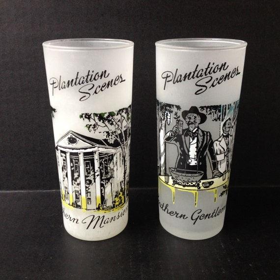 Pair of 1940's Libbey's Tall Frosted Plantation Scenes