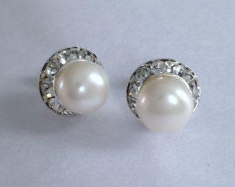 Pearl Earrings wth rhinestones around- 8mm white Pearl Stud Earrings, Bridal earrings, fresh water pearl earrings, JEW002031