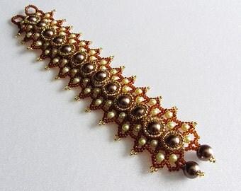 Bracelet Sandra - Wonderful Bracelet handmade in vintage style- Bead weaving - unique