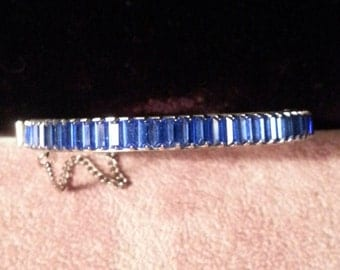 Blue Cubic Zirconia Silver plated Bangle Bracelet