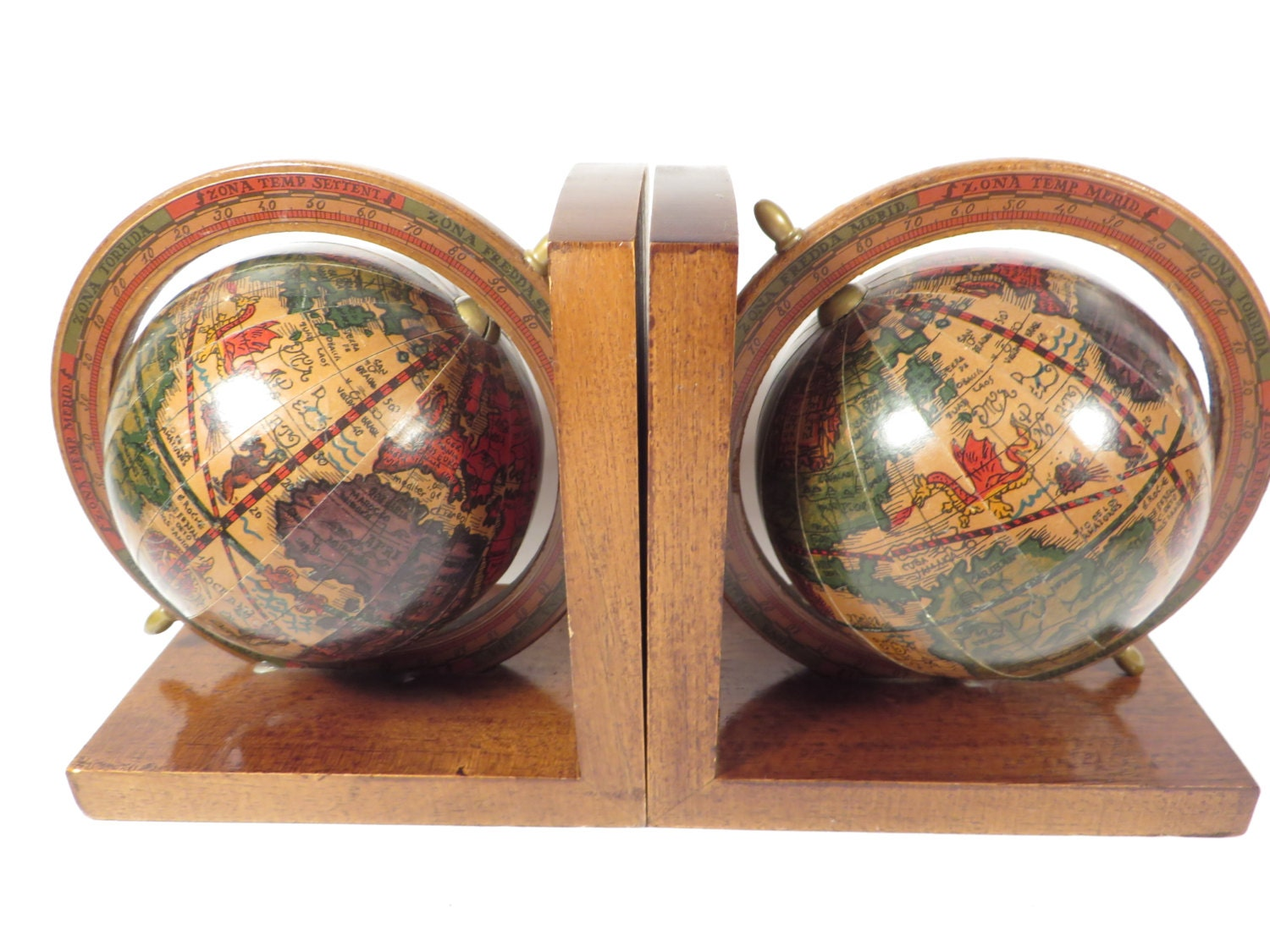 Vintage Wood World Globe Bookends Hi Mark Made In Italy