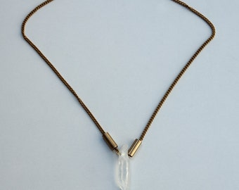 Raw White Quartz Necklace, Boho Gift For the Gypsy Lover, Long Brass Pendant, Festival Necklace