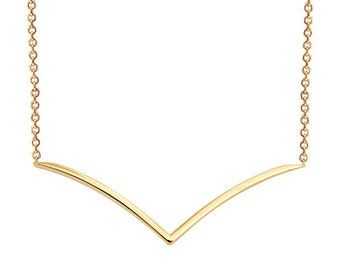 V 14K Solid Gold Necklace Seagull 14k Solid Gold Necklace Chevron Necklace