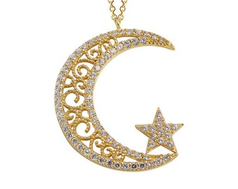 Crescent Moon Star 14k Solid Gold Necklace Ottoman Style