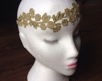 Gold Grecian Floral Leaf Hairband headband
