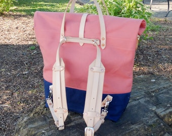 Waxed Canvas Roll Top Rucksack Backpack Option - Leather Straps/Handles/ Waxed Canvas Bag - Nantucket Red/Navy Bag Perfect for Traveling