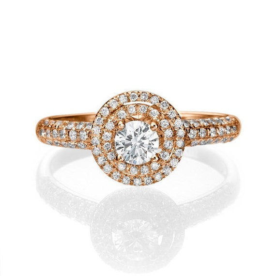Diamond Engagement Ring, 14K Rose Gold, Diamond Gold Ring, Double Halo Ring