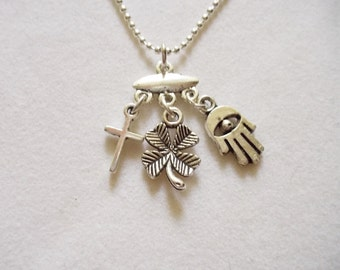 Silver Charm Holder Necklace