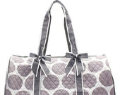 Personalized Quilted Polka Dot Duffle Bag With Detachable Bows