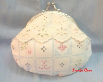 Handmade White checks color pattern print coin Purse small bag (10.5)