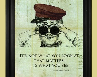 Henry David Thoreau Quote, It's Not What You Look At That Matters - It's What You See, Vintage Sailor Illustration, Thoreau Art Print