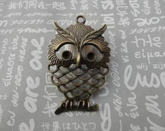 10pcs antique bronze color metal owl pendant , metal owl charm , 55x35mm , CP326
