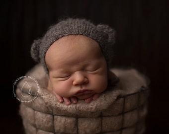 Dark gray bear newborn bonnet. Baby photo prop. Newborn bonnet with funny ears