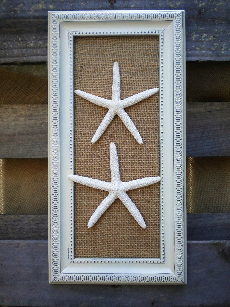 Cottage Chic Framed Sea Shells Home Decor Framed Starfish