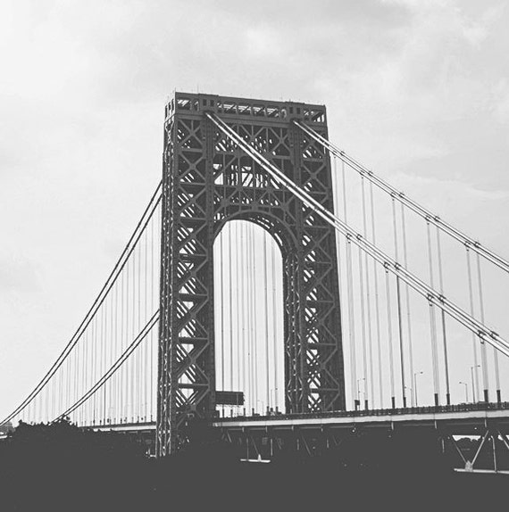 Items similar to Brooklyn Bridge Living Black and White ...