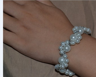 pearl Bracelet,Pearl Flower Bracelet,Glass Pearl Bracelet,Wedding Bracelet,Rhinestones bracelet,Bridesmaid Bracelet,Jewelry