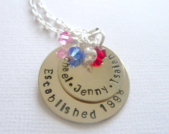 Sterling Silver - Hand Stamped - Stacked Family Necklace - Established