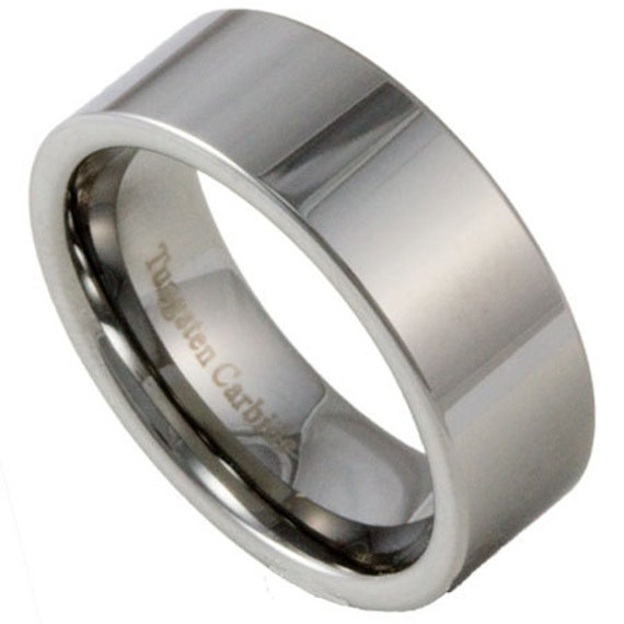 Mens Pipe Cut Tungsten Ring 8MM Wide Wedding By