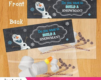 Do you want to build a snowman Frozen Bag Topper Olaf Party Favor Toppers Birthday Party Printable INSTANT DOWNLOAD