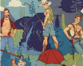 The Outdoorsy Type Camping Hunks Pin Ups Alexander Henry Fabric in Tea