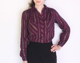 70's metallic thread Indian gold and purple striped blouse, indian cotton hippie collared blouse
