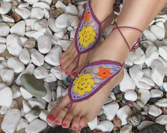 Paisley Barefoot sandals, Crochet Orange Lilac Purple Barefoot Sandals, Barefoot sandles, Foot jewelry, Wedding, Bridal, Anklet , Bellydance