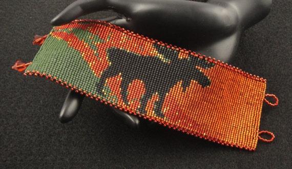 Black Moose Bracelet...Miyuki Delica Seed Bead Loom Woven Bracelet.Cuff.Burnt Orange.Swarovski Bicone Crystals.Fringe.Bold & Firery!