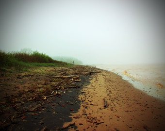 Lake Superior, Wisconsin on a foggy day in June.