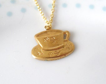Gold Teacup Pendant Necklace, Tea cup, Cute, Tea Party, Mad Hatter, Pretty, Charm