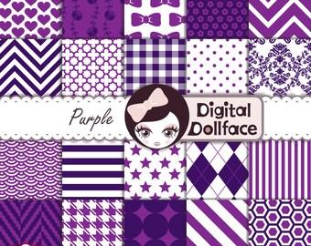 Dark Purple Digital Paper, Scrapbook Paper Pack, Printable Patterns, Purple Cardstock