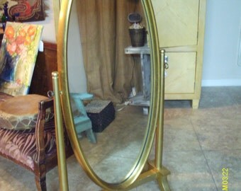 Fabulous Antique French Full Length Cheval Oval Mirror