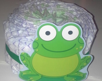 green frogs 1 tier baby shower diaper cake table centerpiece or baby neutral sprinkle gift