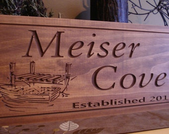Marina Signs, Lake house Plaque, Boat Dock Sign,  Wooden Carved Sign, Cove Signs, ManCave, Boating, Fishing, Custom Wood Signs Benchmark